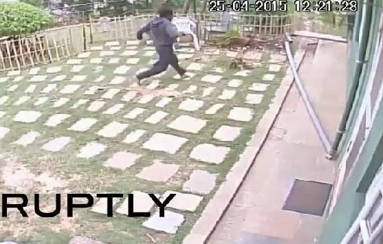 terremoto Nepal grabado en vivo cámara seguridad