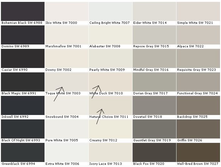 White isn 39 t white little house of four creating a beautiful home one thrifty project at for Exterior house paint comparison chart