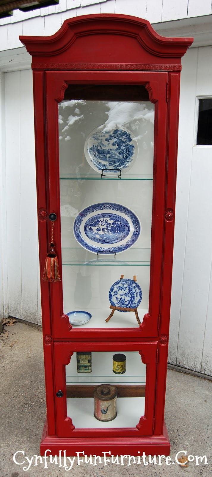 Colonial Red Curio Cabinet