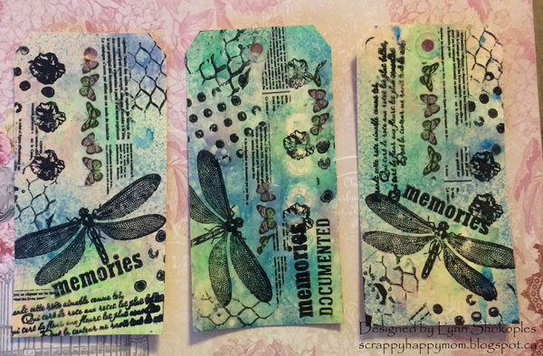 Memories Tags By Lynn Shokoples for BoBunny featuring Glimmer Sprays, Stamps and Washi Tape
