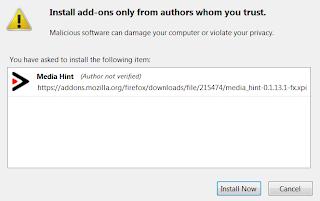 Firefox install add-on media hint