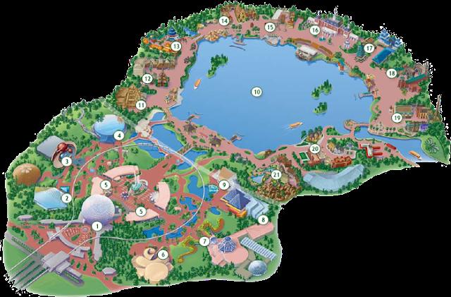 Mapa Parque Epcot Center Disney Orlando