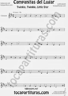 Partitura de Campanitas del Lugar para Clarinete Villancico Christmas Carol Song Twinkle twinkle little  Sheet Music for Clarinet Music Scores