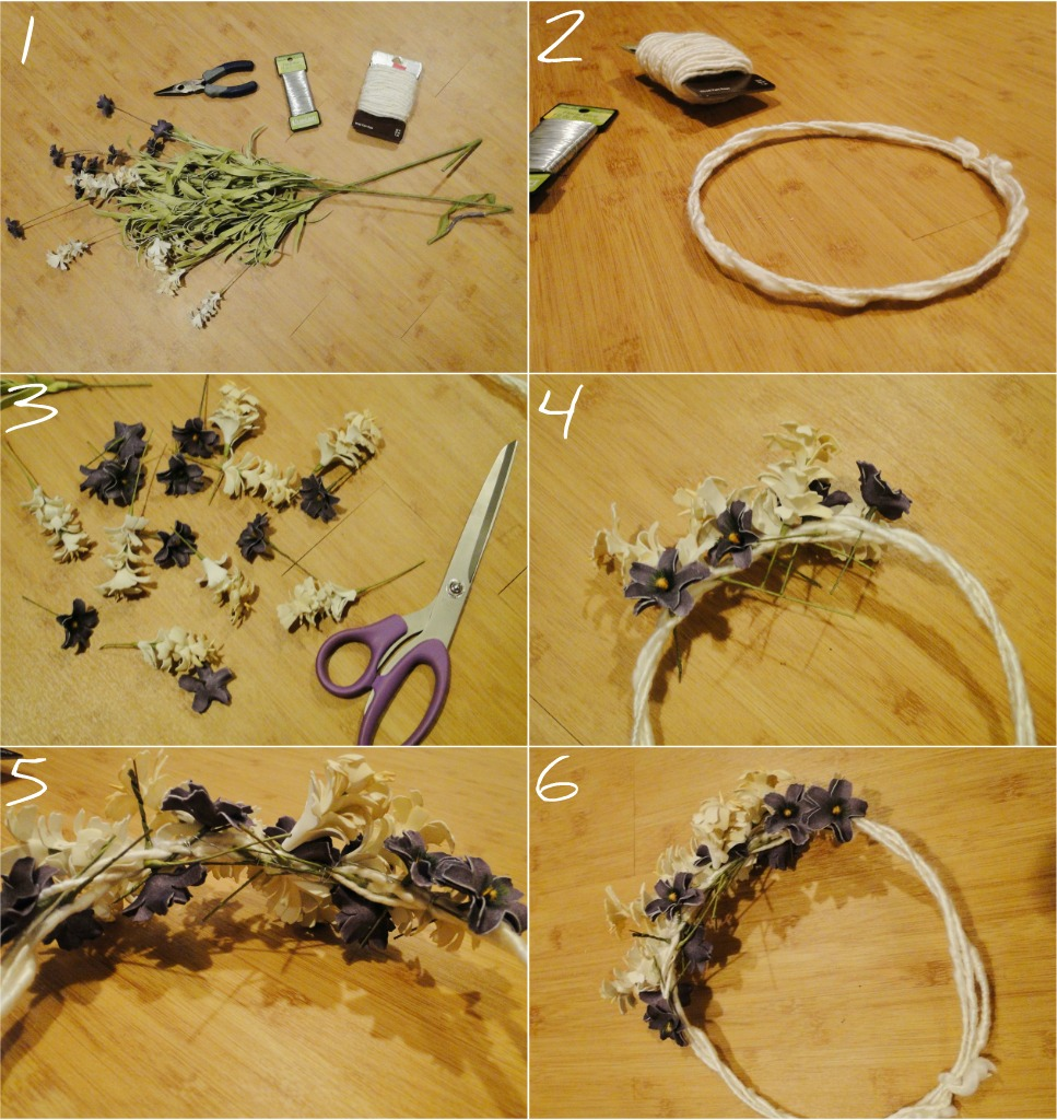 Pie n the sky flower crown diy supplies needed wire yarn wire scissors fake flowers wire cutters optional izmirmasajfo Images