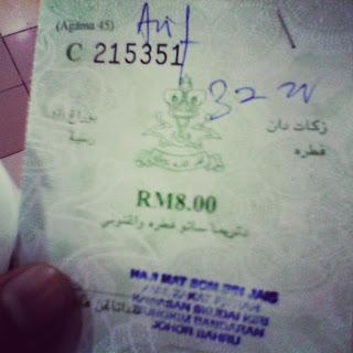 Kadar Zakat Fitrah 2013 / 1434 Bagi Negeri Johor