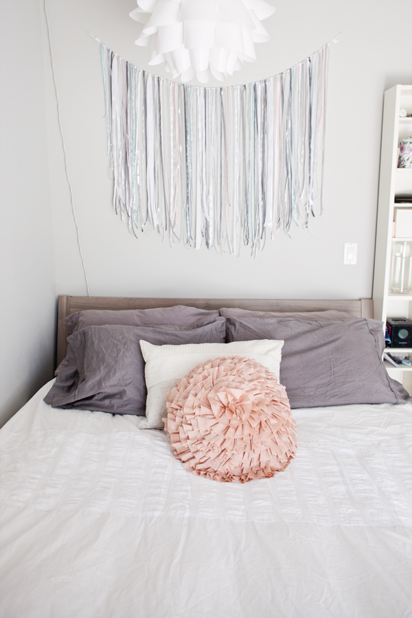 The DIY Ribbon Garland Is Just The Right Size To Hang Over The Bed.