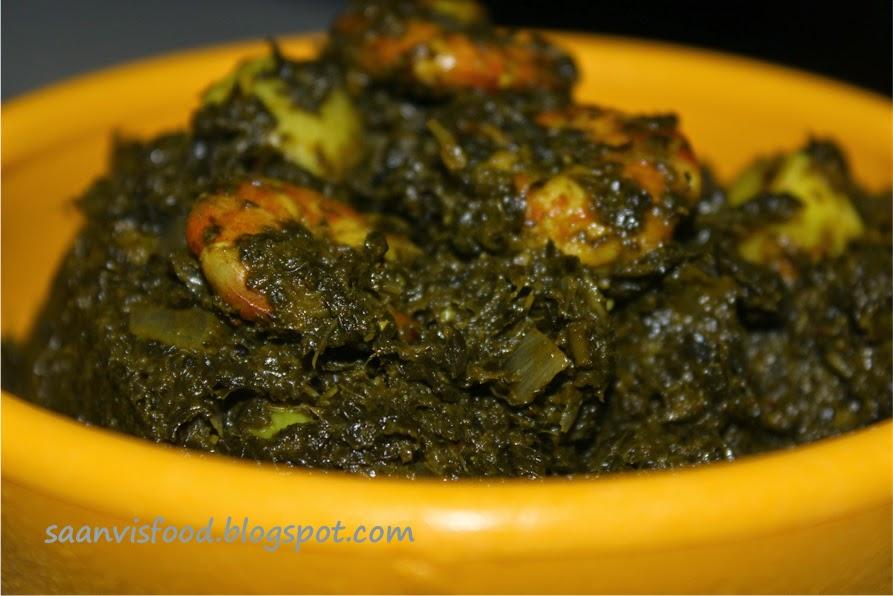 Gongura Royyalu Nuvvula Kurra (Prawns cooked in Sour Greens)