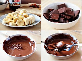 Platanos en chocolate