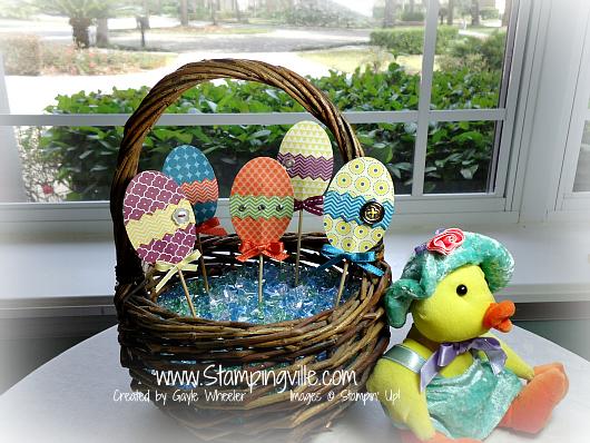 Basket of Patterned Paper Easter Eggs Decorating Idea