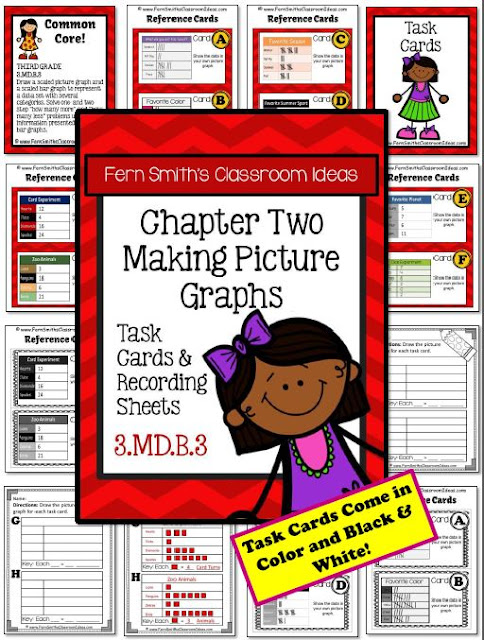 Fern Smith's Classroom Ideas Making Picture Graphs Task Cards, Recording Sheets and Answer Keys with a Cute Ready for School Kid Theme at TeacherspayTeachers.