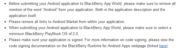 BlackBerry App World Rules For Android App Approval
