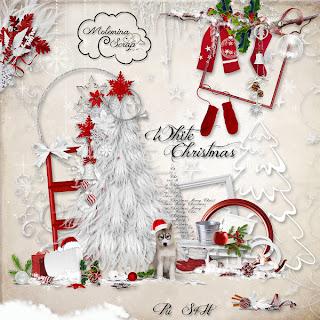 "Scrapbook freebie kit ""White Christmas"" by Molemina scrap"