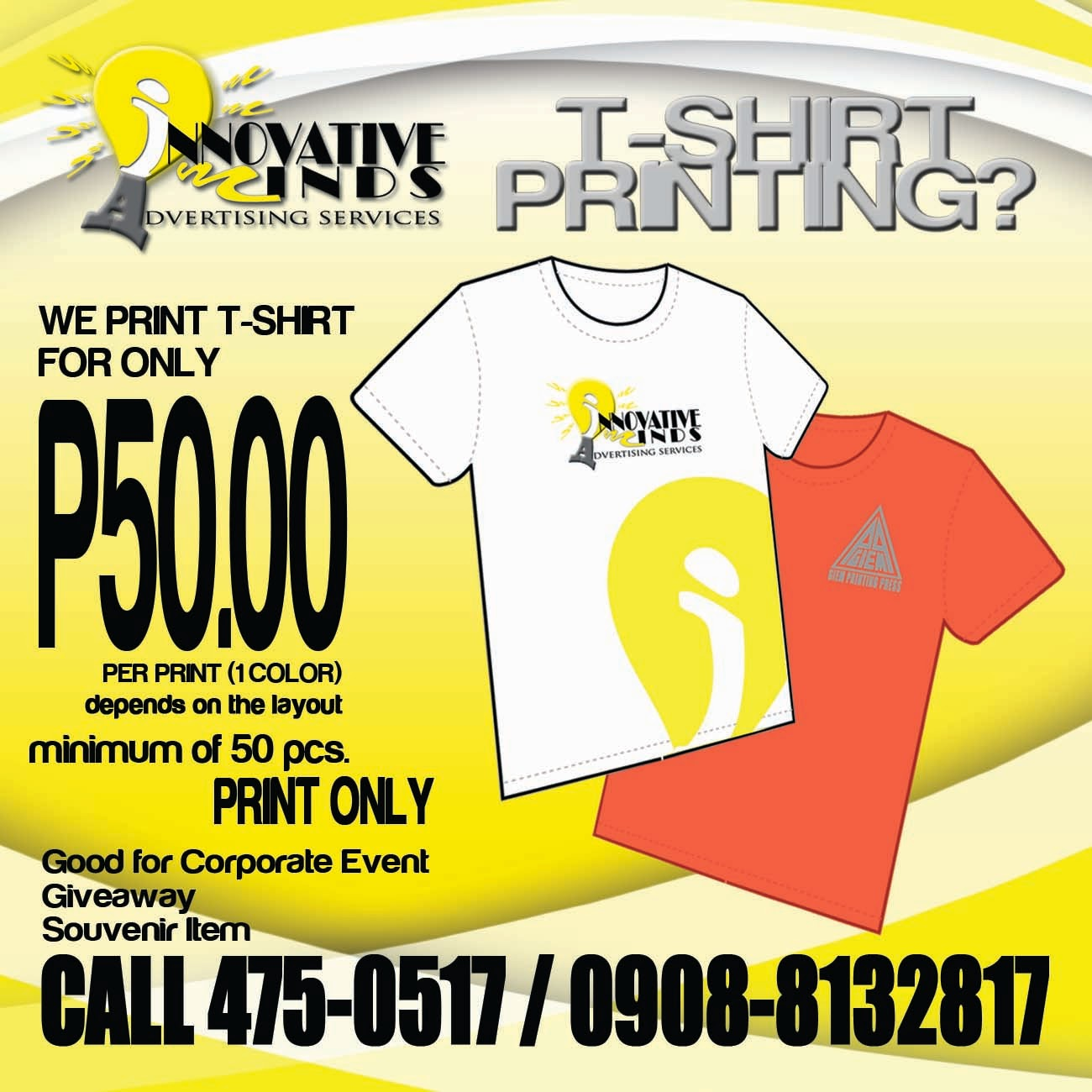 Innovative minds advertising services for T shirt advertising business