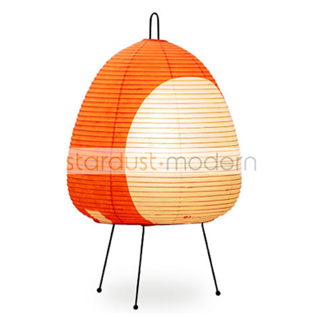 Japanese Paper Table Lamps: Noguchi 1 AT Akari Table Lamp With Rice Paper  Shade, Orange
