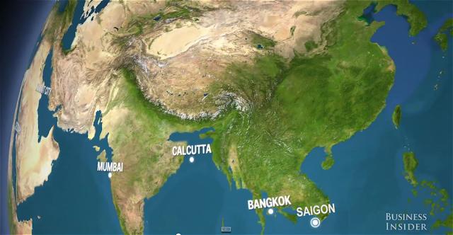 Thành phố Bangkok của Thái Lan và Sài Gòn của Việt Nam bị chìm trong biển nước. Hình cắt ra từ video.