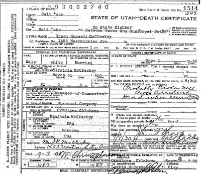 Green Russell McCleskey, Virginia McCleskey, Salt Lake City, Utah, Okmulgee, Oklahoma, genealogy, family history, research, death certificate