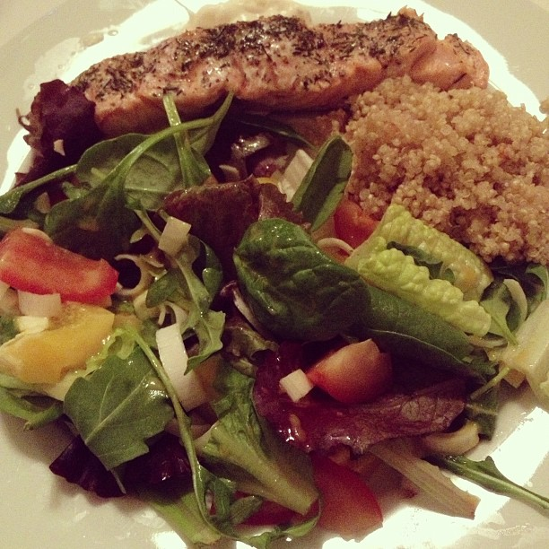 salmon, quinoa and salad