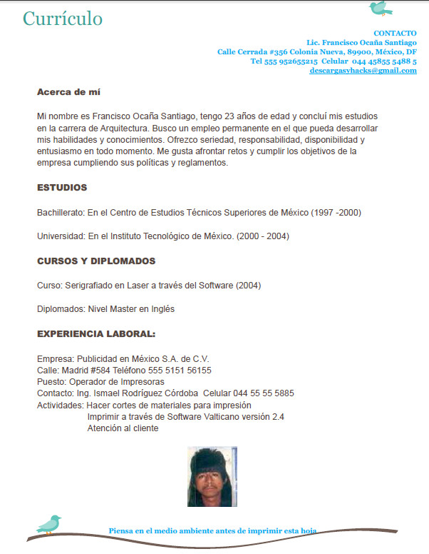 Descargas y Hacks: Descargar curriculum vitae formato word