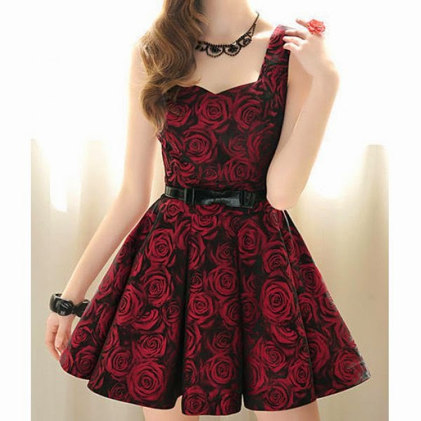 Elegant Prom Dresses -Full Rose Print and Sweetheart Neckline