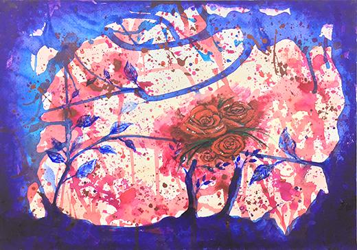 横浜美術学院の中学生教室 美術クラブ 絵の具課題「絵の具のシミから描写しよう!」12