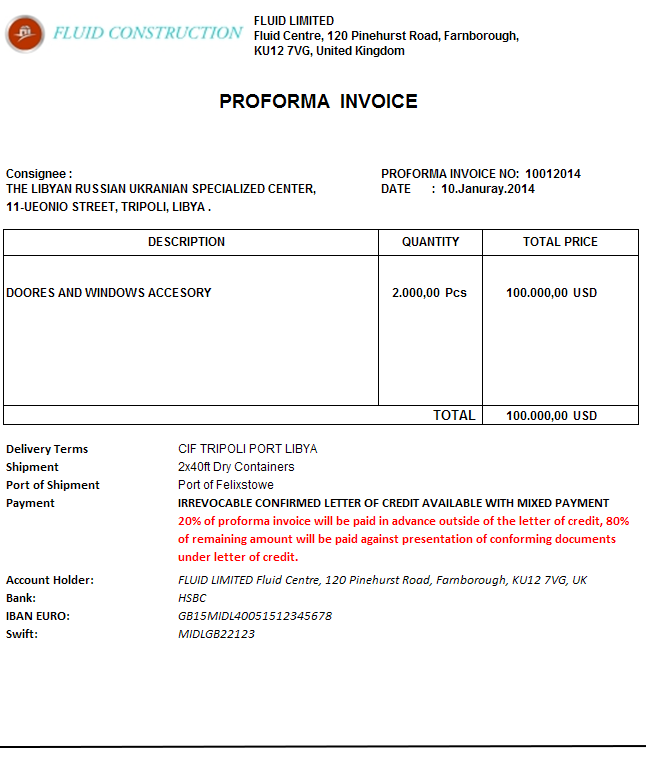 proforma invoice for advance payment sample