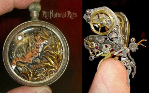 00-Fairy-and-Fox-Recycled-Watch-Sculptures-Steampunk-Susan-Beatrice-All-Natural-Arts-www-designstack-co