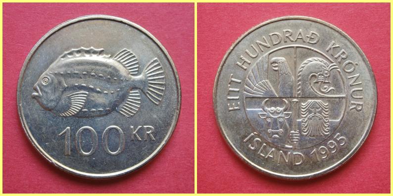 Moneda 100 Coronas Islandia