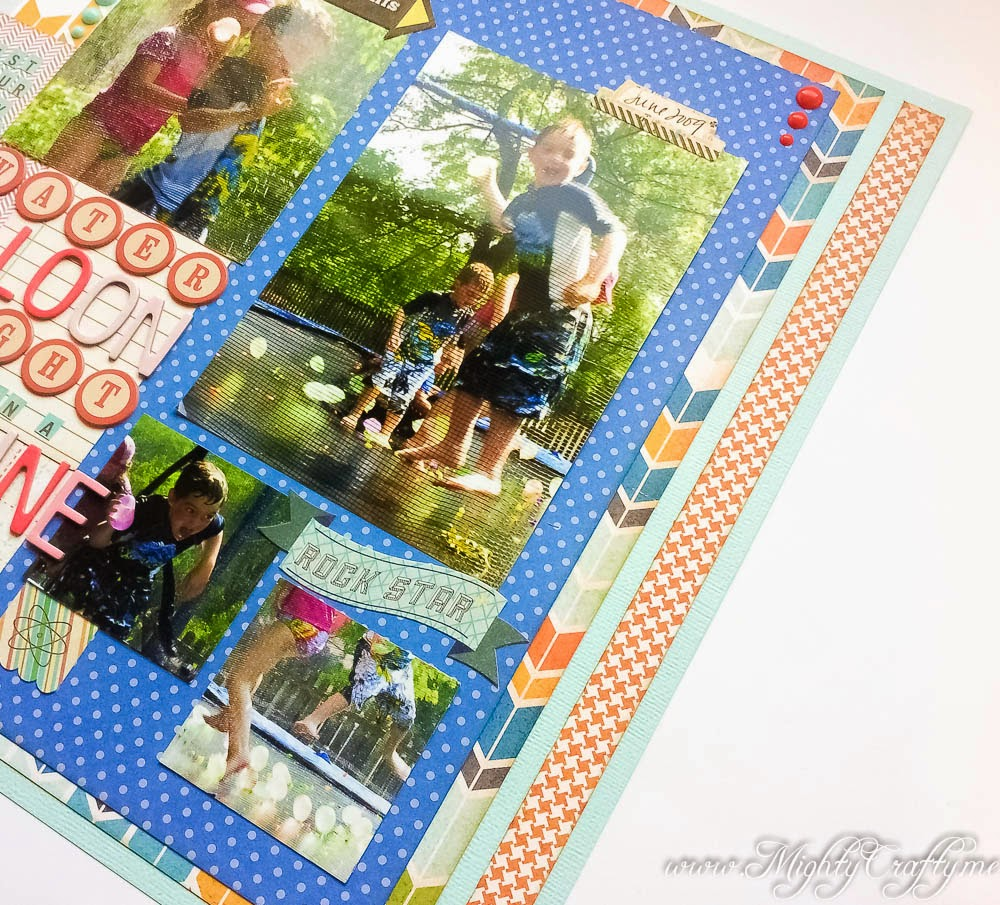 Water Balloon Fight layout for Sketch N Scrap Inspired By Challenge #5 -- www.MightyCrafty.me