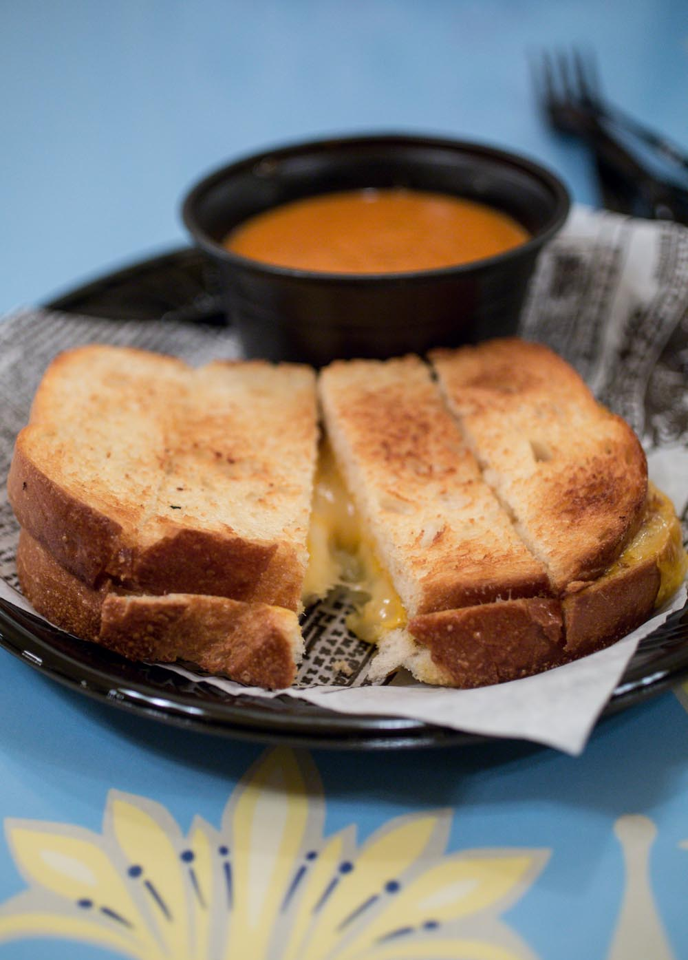 Disneyland Holly Jolly Bakery Cafe Tomato Basil Soup and Grilled Cheese