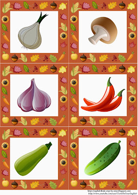 autumn fall vegetables flashcards pictures
