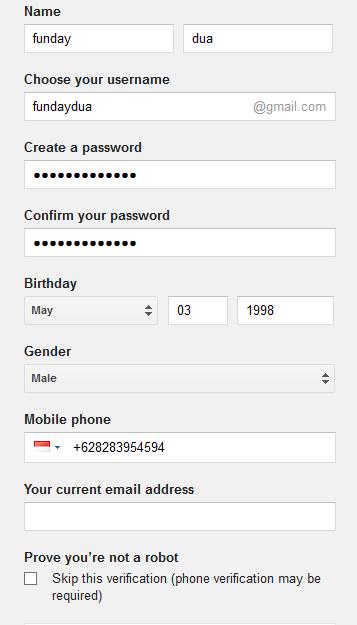 form registrasi gmail