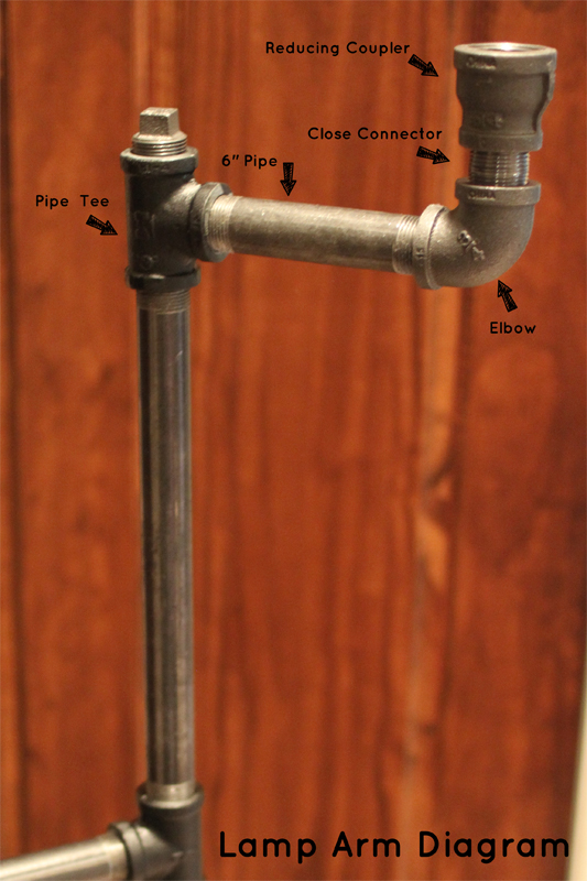 "how to make an industrial pipe floor lamp how about orange grab a pipe tee attach a 6"" length of pipe to the lonely end of said pipe tee then attach an elbow then screw in a close connector"