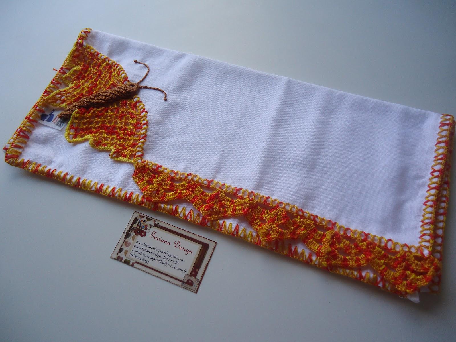 Taciana Design: Pano de prato com borboleta de crochê