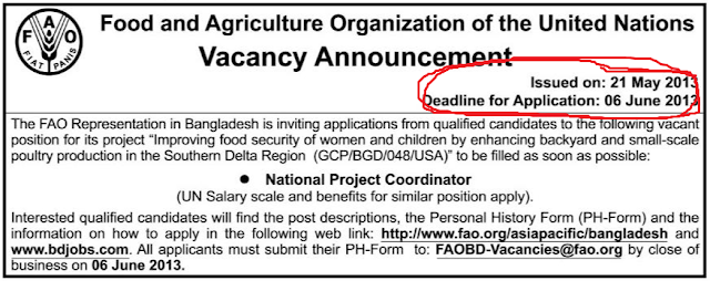 Career at  Food and Agriculture Organization of the United Nations