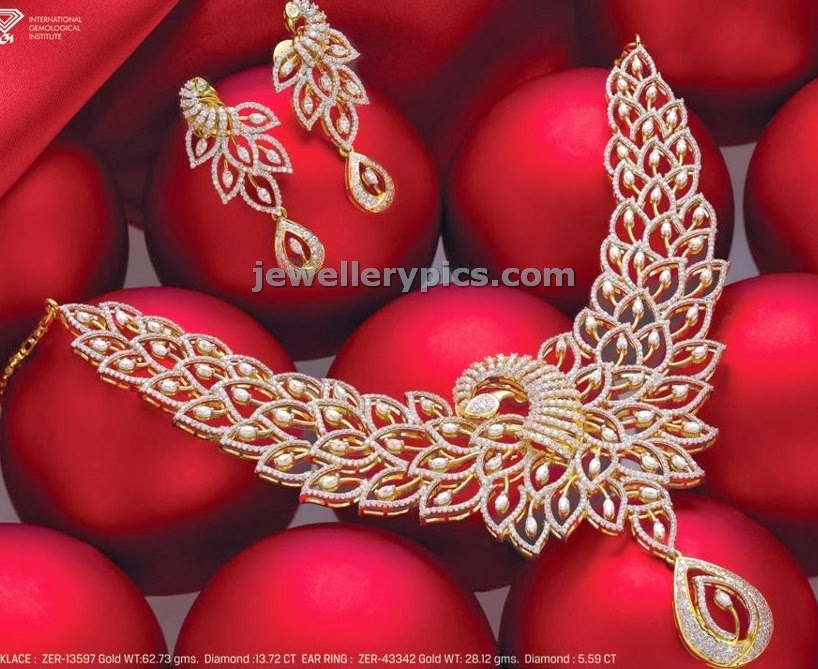 akshaya jewellers peacock diamond necklace designer set