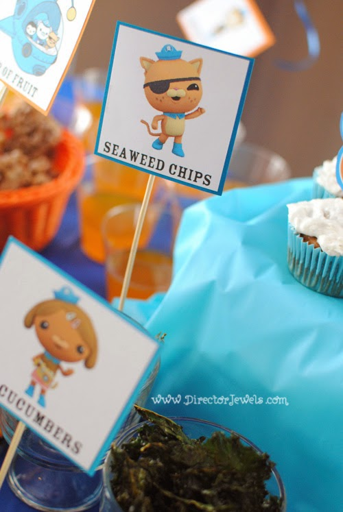 Octonauts Birthday Party Food Ideas | Kale Seaweed Chips | Under the Sea Party at directorjewels.com