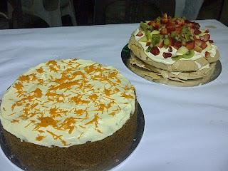 Carrot Cake and Pavlova