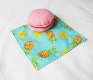 image cocktail napkin fabric eco-aware domum vindemia picnic pineapples pineapple fruit yellow turquoise blue