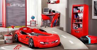 K%C4%B1rm%C4%B1z%C4%B1 arabal%C4%B1 yatak modeli 550x288 Arabalı yatak modelleri