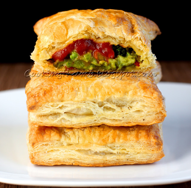 Broccoli Cheese Avocado Jalapeno Stuffed Puff Pastry