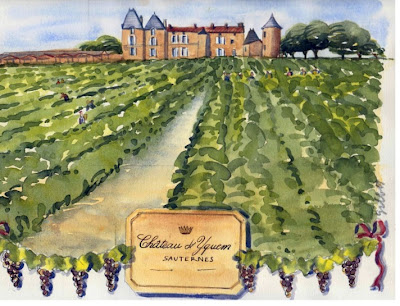 Chateaux in Bordeaux watercolor by Carol Gillott