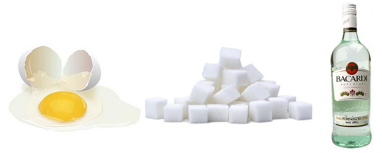 Яичный желток, сахар, ром
