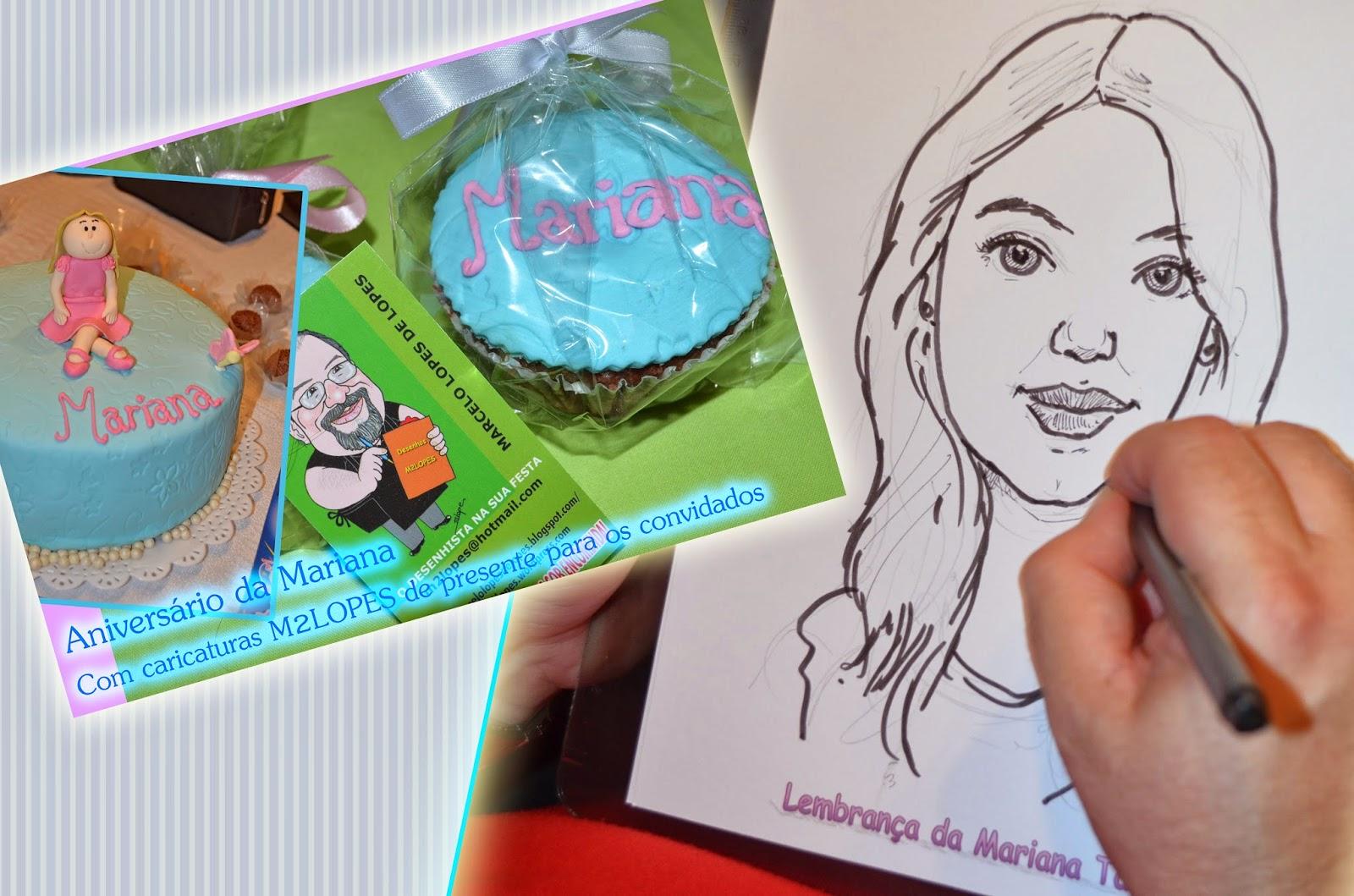 Caricaturas na festa com o Desenhista Marcelo Lopes de Lopes