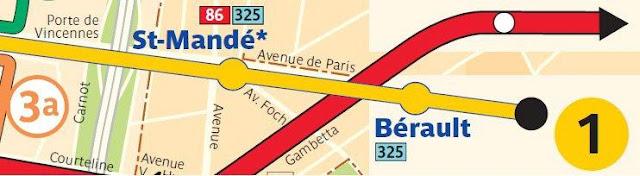 Seccion del mapa de metro de la línea 1 en Paris - Porte de Vincennes, Saint Mande, Berault, Chateau de Vincennes