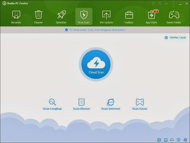 Fitur Virus Scan Baidu PC Faster