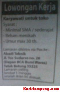 Lowongan Karyawati Toko Abadi Teknik Teluk Betung Lampung