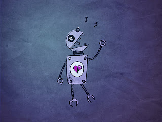 Blue Paper Robot grunge wallpaper