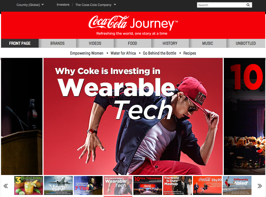 Coca-Cola Journey homepage