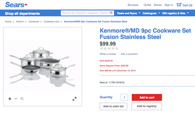 Sears Kenmore Cookware Set - RetailMeNot Canada #HolidayCents