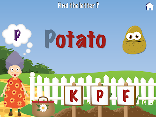 Grandma's Garden iPad / iPhone app, First Letter Mini Game